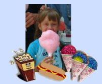 Popcorn, Cotton Candy, Hotdogs, Ice cones image